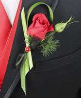 PUTTING ON THE RITZ RED Prom Boutonniere in Charlottetown, PE | BERNADETTE'S FLOWERS