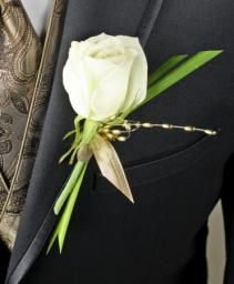 WHITE ROSE GLITTER Prom Boutonniere