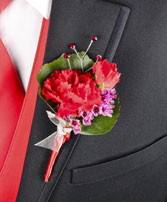 CRIMSON CARNATION Prom Boutonniere in Olathe, KS | THE FLOWER PETALER