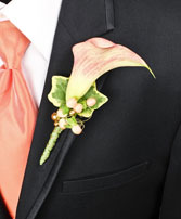 ELEGANT APRICOT CALLA Prom Boutonniere in Saint Albert, AB | PANDA FLOWERS (SAINT ALBERT) /FLOWER DESIGN BY TAM