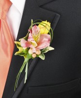 PASTEL POTPOURRI Prom Boutonniere in Saint Albert, AB | PANDA FLOWERS (SAINT ALBERT) /FLOWER DESIGN BY TAM