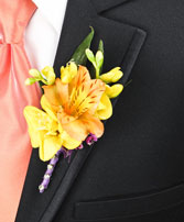SPRINGTIME SUNSET Prom Boutonniere in Beaufort, SC | ARTISTIC FLOWER SHOP