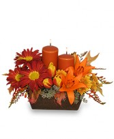 ABUNDANT BEAUTY Fall Centerpiece in Pembroke, MA | CANDY JAR AND DESIGNS IN BLOOM