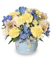 BABY BOY BLOOMS Floral Arrangement in Zachary, LA | FLOWER POT FLORIST