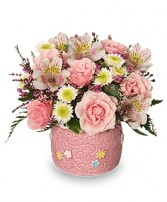 BABY GIRL BLOOMS Floral Arrangement in Michigan City, IN | WRIGHT'S FLOWERS AND GIFTS INC.