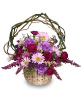 LOVEABLE LAVENDER Basket in Peru, NY | APPLE BLOSSOM FLORIST