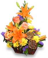 EXPRESSIONS OF FALL Flowers in a Basket in Pembroke, MA | CANDY JAR AND DESIGNS IN BLOOM