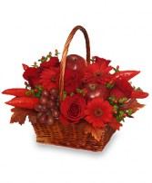 THE RICHNESS OF RED Flower Basket in Naperville, IL | DLN FLORAL CREATIONS
