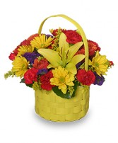 BRIGHT & SUNNY BASKET Floral Arrangement in Caldwell, ID | ELEVENTH HOUR FLOWERS