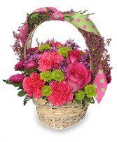 SPRING FEVER BASKET Arrangement in East Haven, CT | CREATIVE FLOWERS, FRUIT & GIFT BASKETS