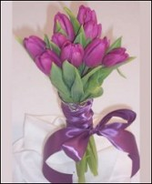 Purple Tulip Bouquet with Embellished Handle