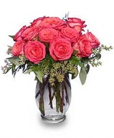 SYMPHONY IN ROSES Coral Floral Vase in Jasper, IN | WILSON FLOWERS, INC