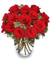 CLASSIC ROSE ROYALE  18 Red Roses Vase in Jasper, IN | WILSON FLOWERS, INC