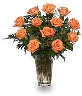 Orange Blossom Special Vase of Orange Roses