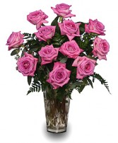 SWEET ATHENA'S ROSES Pink Roses Vase in Jasper, IN | WILSON FLOWERS, INC