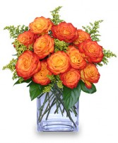 FIERY LOVE Vase of 'Circus' Roses in Manchester, NH | CRYSTAL ORCHID FLORIST