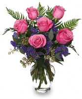 HALF DOZEN PINK ROSES Vase Arrangement in Santa Cruz, CA | BOULDER CREEK FLOWERS & DESIGN CO.