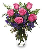 HALF DOZEN PINK ROSES Vase Arrangement