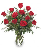 CLASSIC DOZEN ROSES Red Rose Arrangement in West Hills, CA | RAMBLING ROSE FLORIST