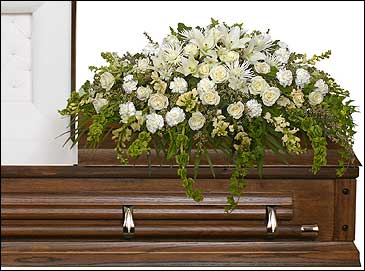 TRANQUILITY CASKET SPRAY Funeral Flowers in Medicine Hat, AB | AWESOME BLOSSOM