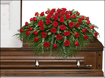MAJESTIC RED CASKET SPRAY of Funeral Flowers in Olds, AB | THE LADY BUG STUDIO