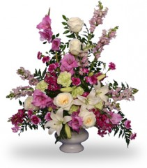 MAGENTA SUNSET URN Funeral Flowers in Holiday, FL | SKIP'S FLORIST & CHRISTMAS HOUSE