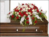 GRACEFUL RED & WHITE CASKET SPRAY  Funeral Flowers in Dallas, TX | MY OBSESSION FLOWERS & GIFTS