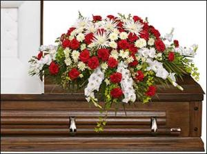 GRACEFUL RED & WHITE CASKET SPRAY  Funeral Flowers in Richland, WA | ARLENE'S FLOWERS AND GIFTS
