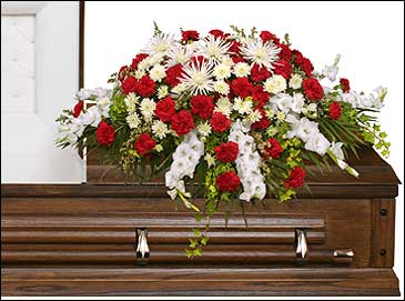 GRACEFUL RED & WHITE CASKET SPRAY  Funeral Flowers in Malvern, AR | COUNTRY GARDEN FLORIST