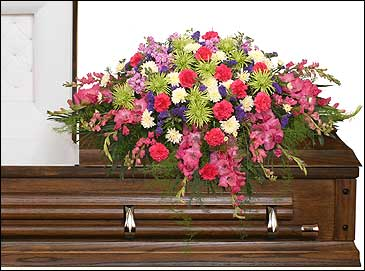 ETERNAL BEAUTY CASKET SPRAY  Funeral Flowers in Wheatfield, IN | STEMS N' SUCH
