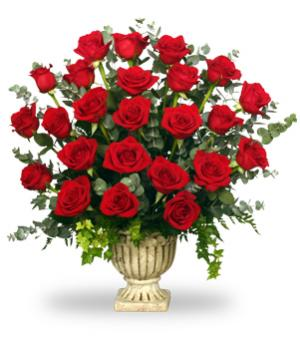 Regal Roses Urn Funeral Flowers in Waterbury, CT | GRAHAM'S FLORIST