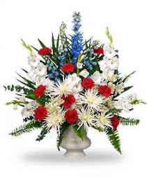 PATRIOTIC MEMORIAL  Funeral Flowers in Wheatfield, IN | STEMS N' SUCH