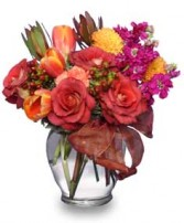 FALL FLIRTATIONS Vase Arrangement in Bloomfield, NY | BLOOMERS FLORAL & GIFT