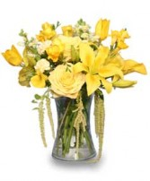 RAY OF SUNSHINE Yellow Flower Vase in Houston, TX | AJ'S URBAN PETALS