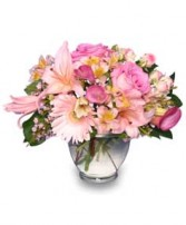 DELICATE AFFECTION Pink Floral Vase in Jasper, IN | WILSON FLOWERS, INC