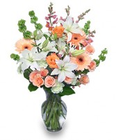 PEACHES & CREAM Flower Arrangement in Michigan City, IN | WRIGHT'S FLOWERS AND GIFTS INC.