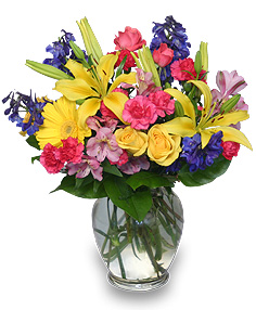 RAINBOW OF BLOOMS Vase of Flowers in Edmonton, AB | POLLIE'S FLOWERS