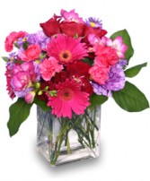 HOT PINK PIZZAZZ  Flower Arrangement in Rochester, NH | LADYBUG FLOWER SHOP, INC.