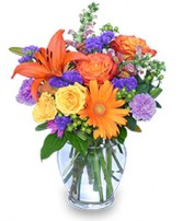 SUNSET WALTZ Vase of Flowers in Olathe, KS | THE FLOWER PETALER