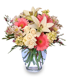 Welcome Baby Girl Flower Arrangement in Wooster, OH | COM-PATT-IBLES FLOWERS AND GIFTS