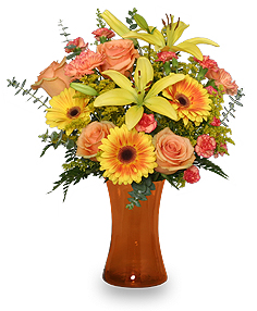 Amber Sky Flower Arrangement in Richland, WA | ARLENE'S FLOWERS AND GIFTS