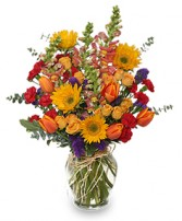 FALL TREASURES Flower Arrangement in Thomas, OK | THE OPEN WINDOW