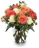PEACH & WHITE ROSES Bouquet in Raymore, MO | COUNTRY VIEW FLORIST LLC