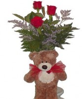 Oxford Flower's I Love You Beary Much Bouquet 3 Red Roses in a Vase  and a bear.