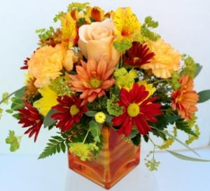An Orange Sunset Fresh flower arrangement  in Troy, MI | DELLA'S MAPLE LANE FLORIST
