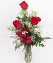 3 Red Roses in a vase with filler and bow!!