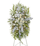 ALL WHITE STANDING SPRAY  Funeral Flowers in Prospect, CT | MARGOT'S FLOWERS & GIFTS