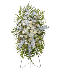 ALL WHITE STANDING SPRAY  Funeral Flowers in North Oaks, MN | HUMMINGBIRD FLORAL