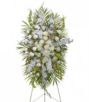 ALL WHITE STANDING SPRAY  Funeral Flowers in Baton Rouge, LA | FLOWER BASKET
