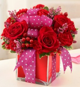 All Wrapped Up - Red Cube Arrangement in Gladewater, TX | GLADEWATER FLOWERS & MORE